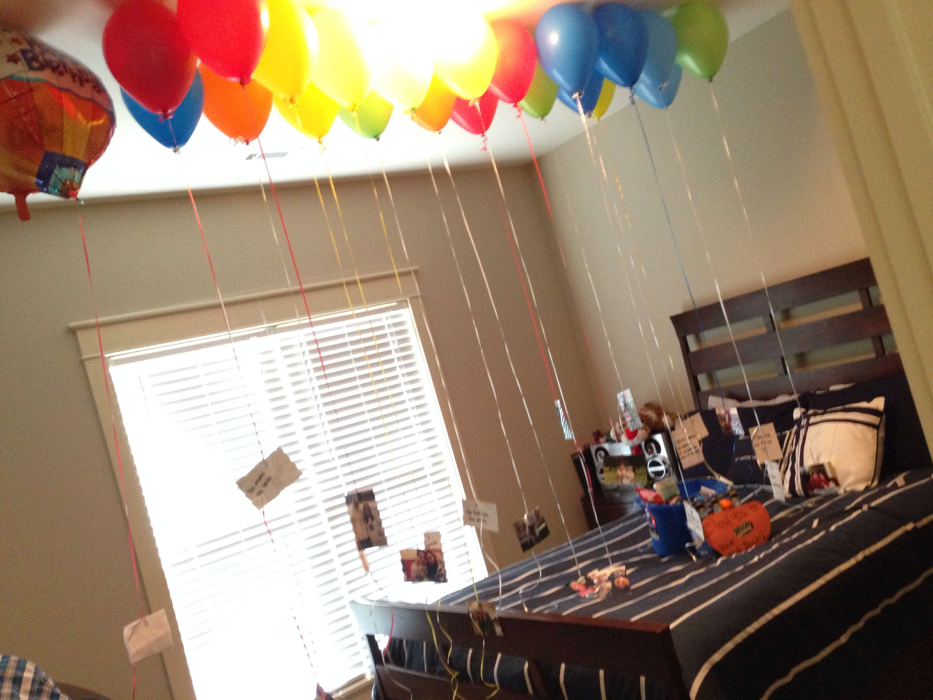 21st birthday idea I blew up 21 balloons and each balloon had a