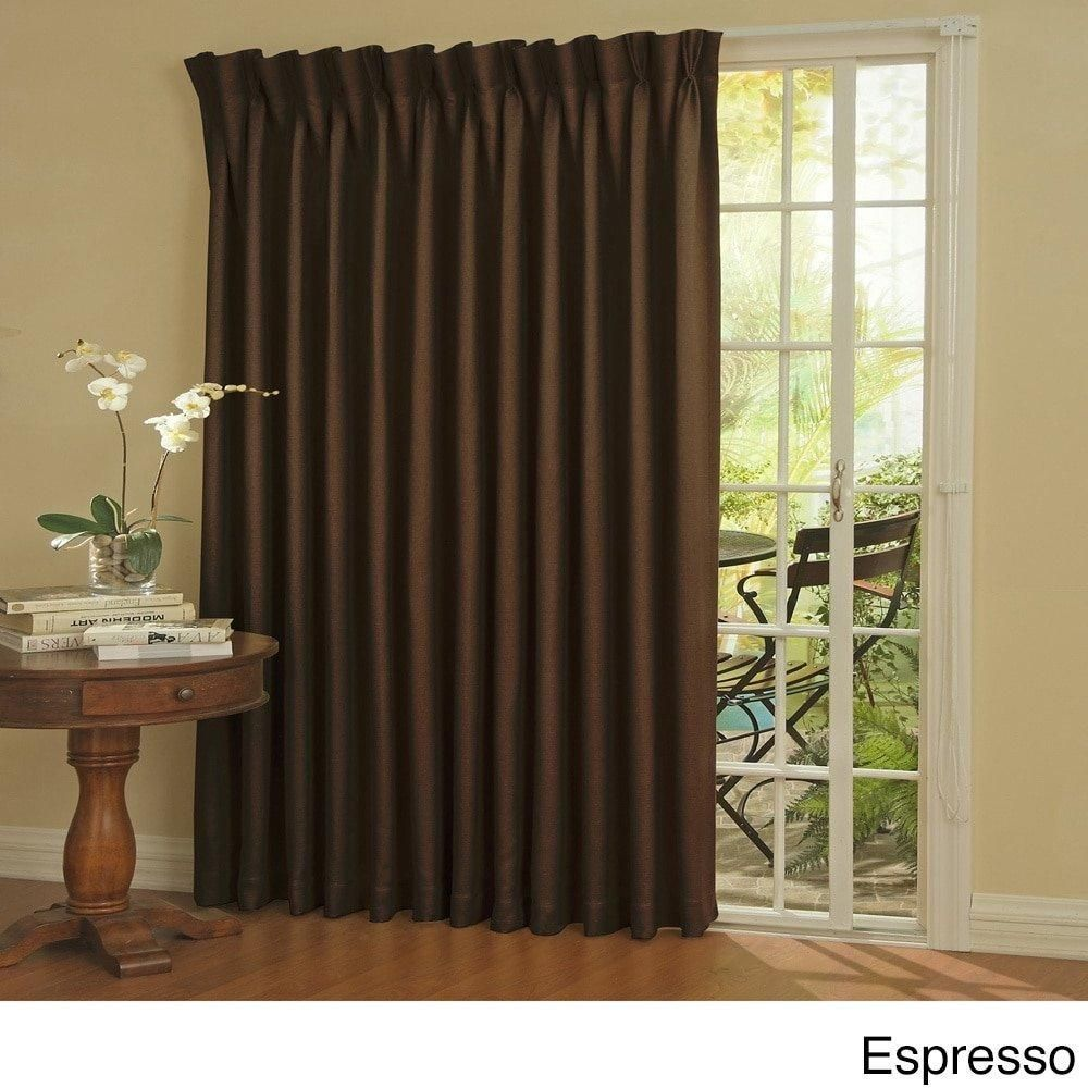 84 Inch Espresso Solid Color Sliding Door Curtain Dark Brown