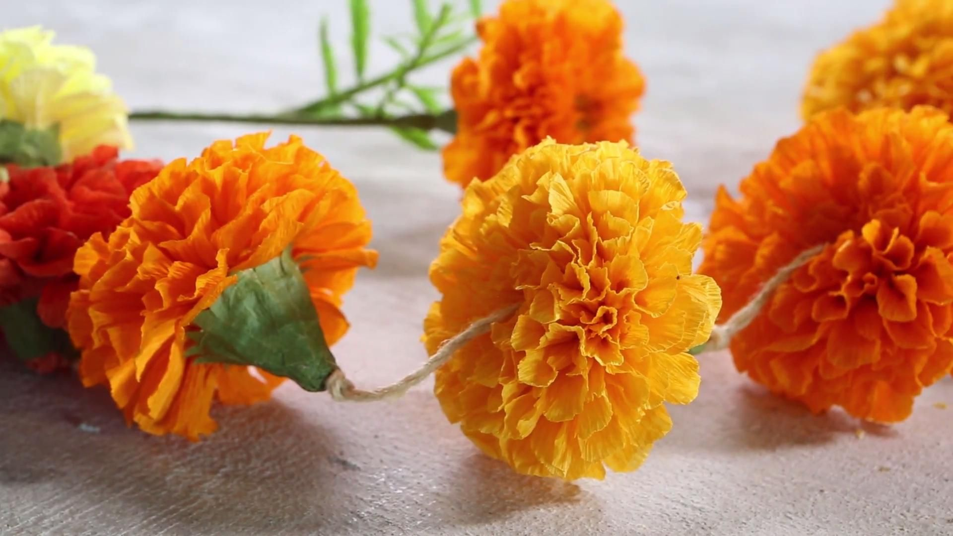How To Make Paper Marigold Flowers Paper Crafting Marigold