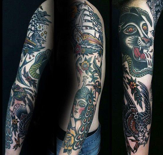 Top 59 Traditional Tattoo Sleeve Ideas 2020 Inspiration Guide Traditional Tattoo Sleeve Sleeve Tattoos Tattoos