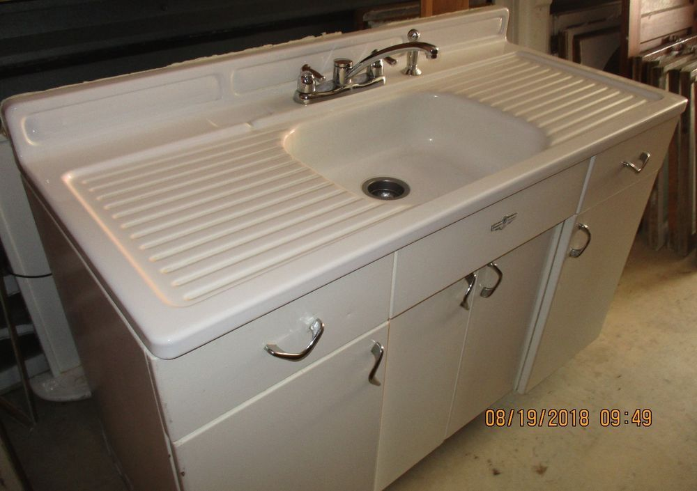 Vintage Kitchen Sink Porcelain Over Tin With Metal Base Cabinet