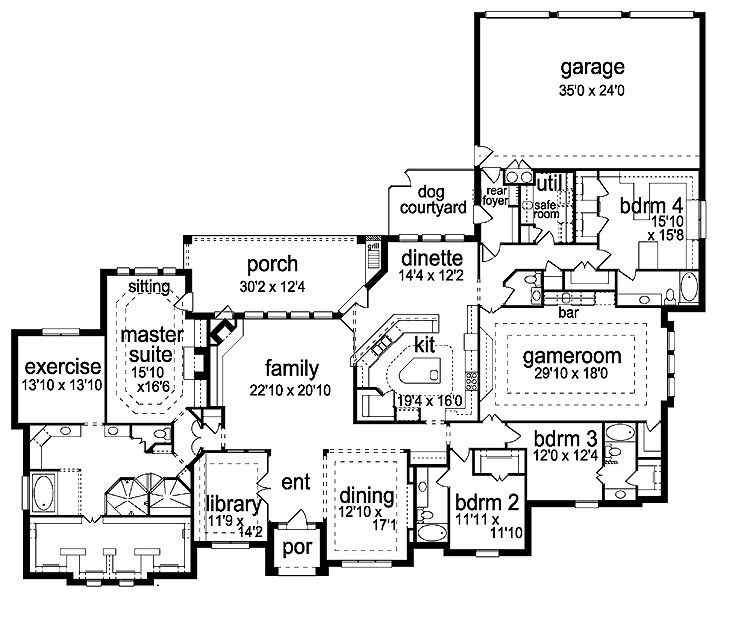4 bedroom one story house with safe room game room and a for Safe room design plans