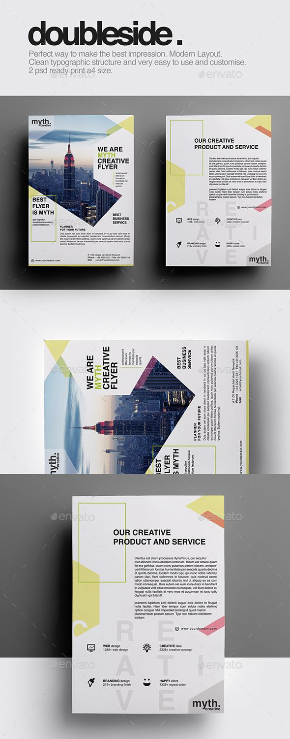 Double Sided Flyer | Flyer template, Graphics and Business flyer ...