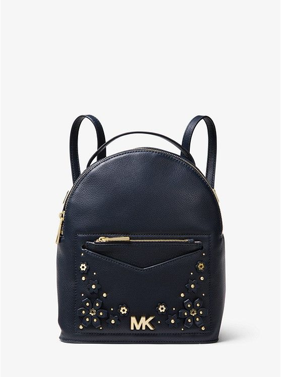 64dbee483b14 Jessa Small Floral Embellished Pebbled Leather Convertible Backpack ...
