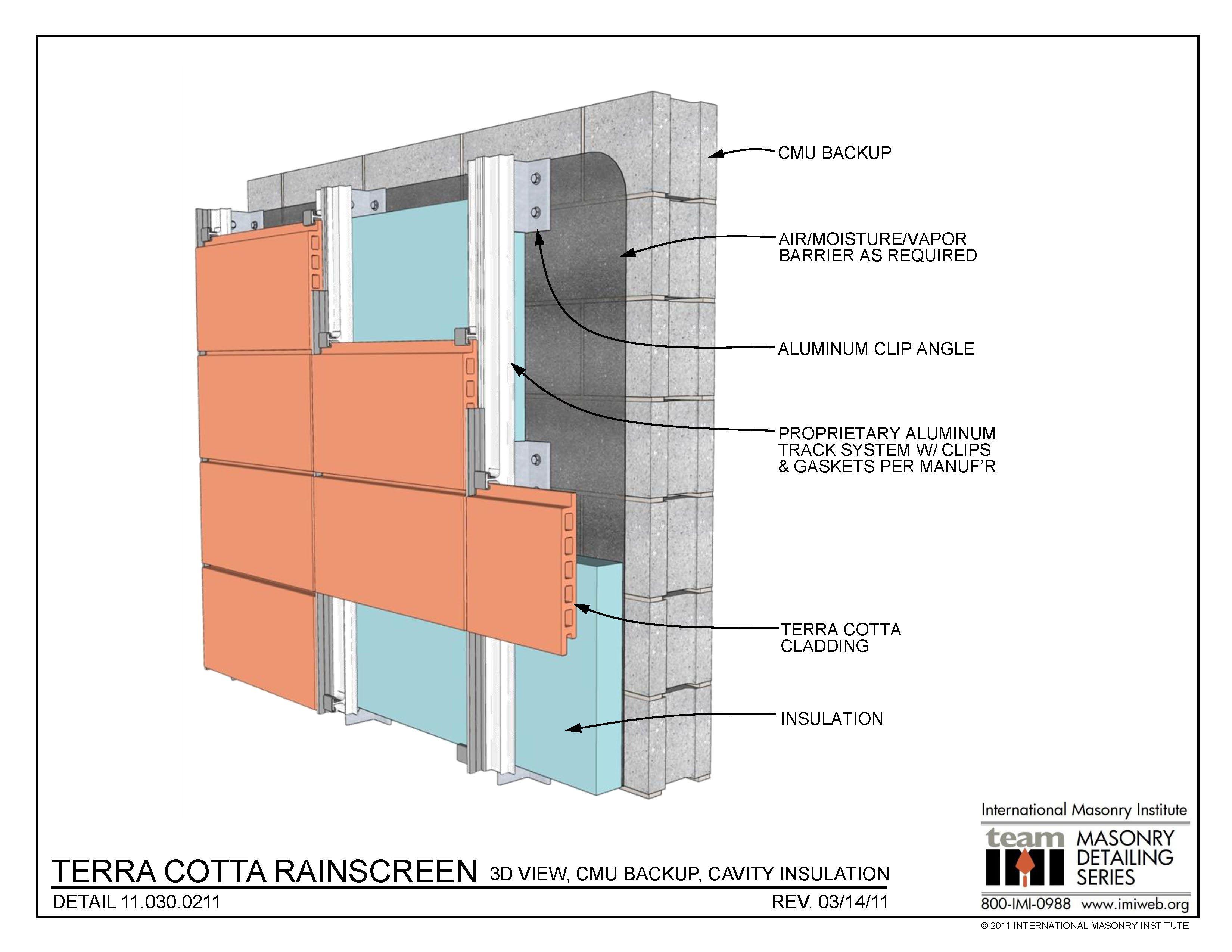11 030 0211 Terra Cotta Rainscreen 3d View Cmu Backup Insulation ό Pinterest
