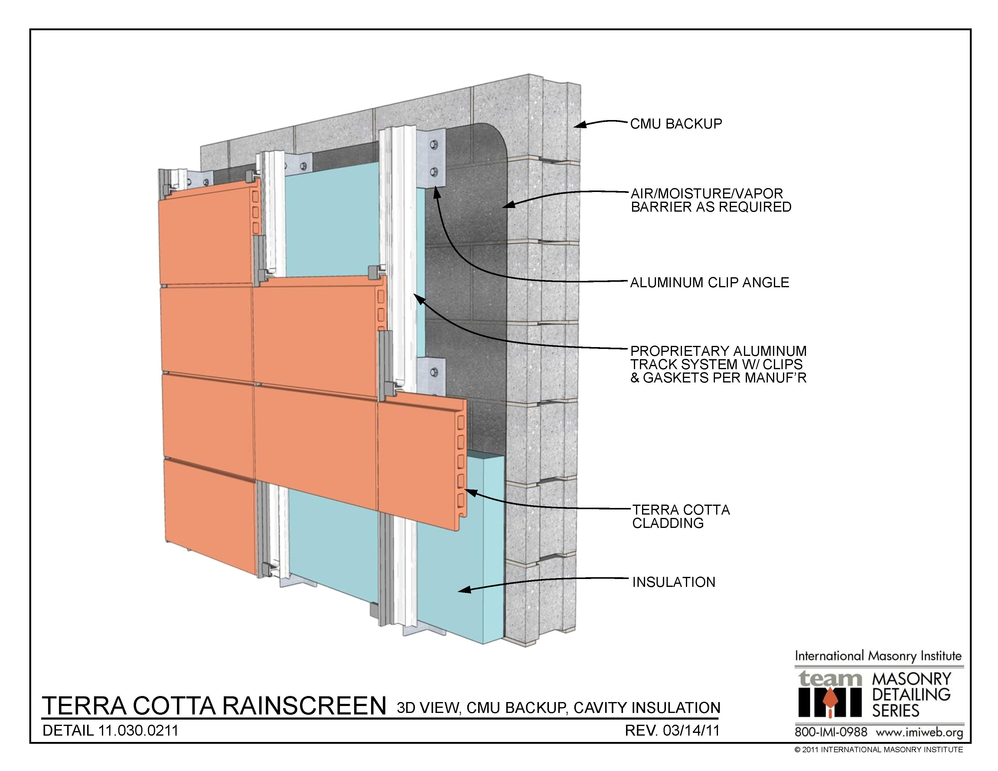 Terra cotta rainscreen 3d view cmu backup for Insulated concrete masonry units