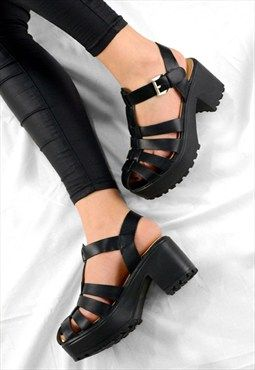 9f0a7575faf EVIE Chunky Grip Heel Cut Out Buckle Sandals Shoes Black | Shoes ...