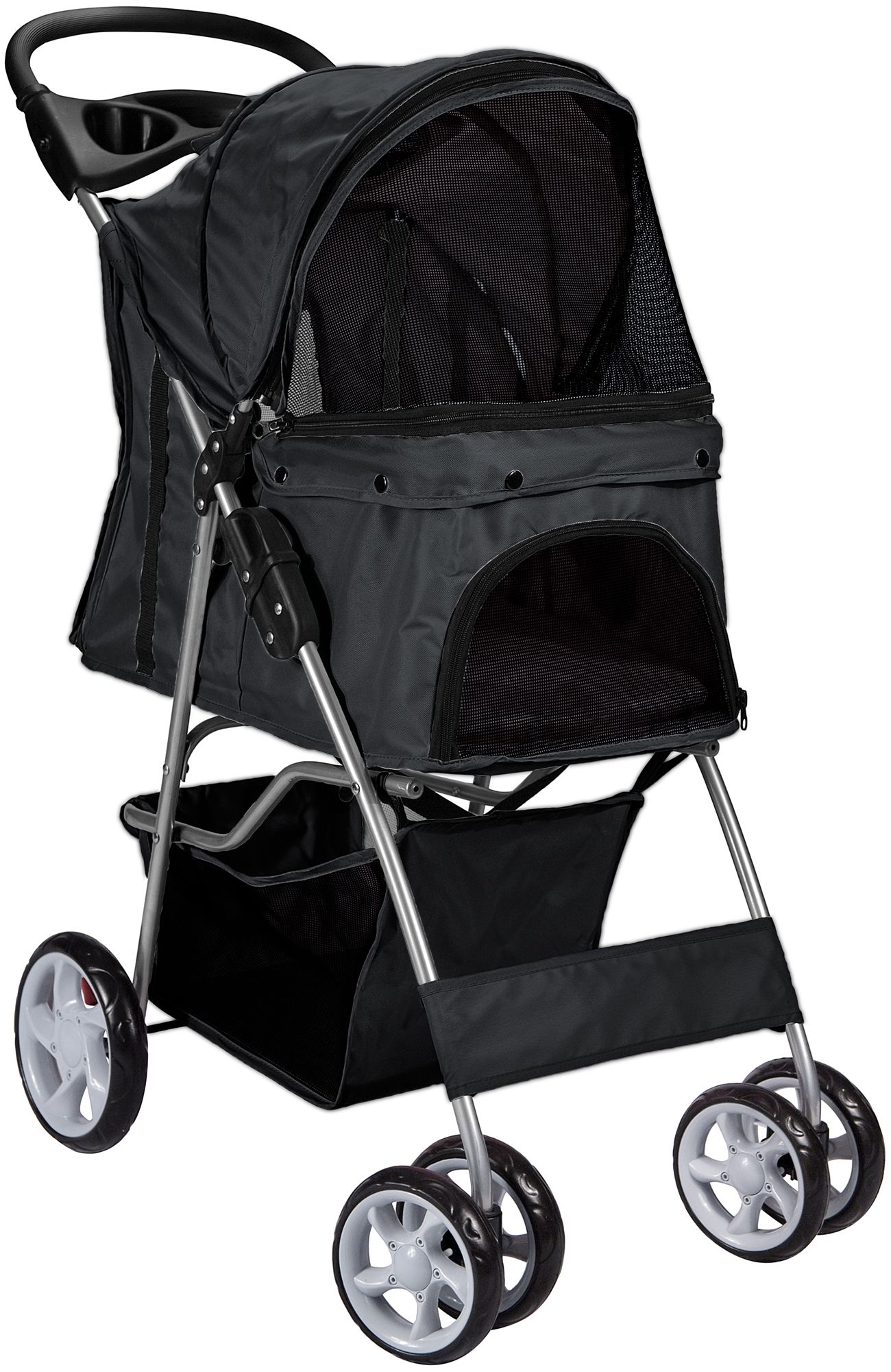 Paws & Pals Folding Pet Stroller, Black in