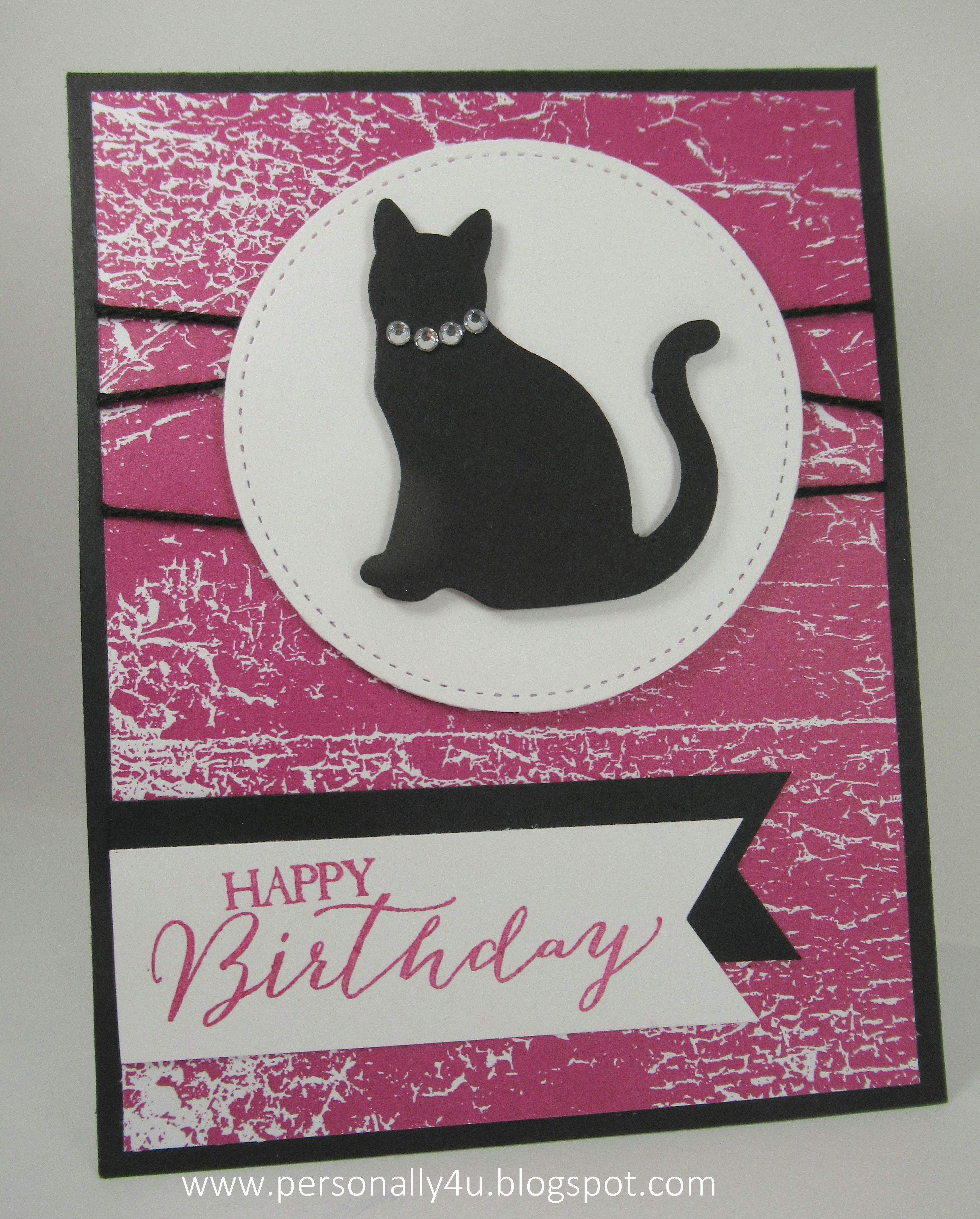 Happy Birthday cat Card with Stampin' Up! Color Theory DSP ...