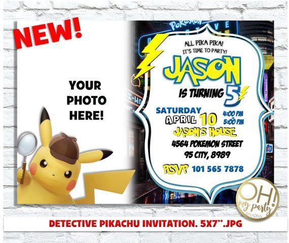 Detective Pikachu Invitation Detective Pikachu Party Detective