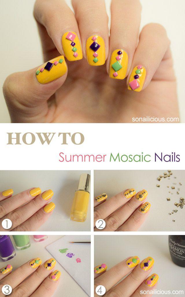 Neon Mosaic Summer Nails Tutorial Nail Art Designs Diy Summer Nail Tutorials Nail Art Diy Easy