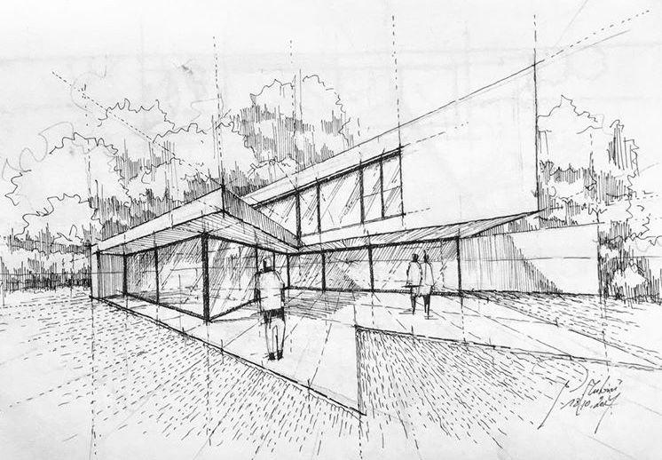 perspektive treppe pool architekten zurich architektur skizzen zeichnen. Black Bedroom Furniture Sets. Home Design Ideas