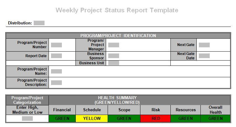 Tronmaster on Template and Project management - weekly report template