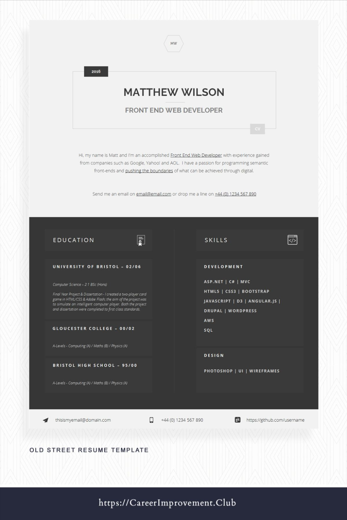 Printable Word CV Template Editable Word CV CV