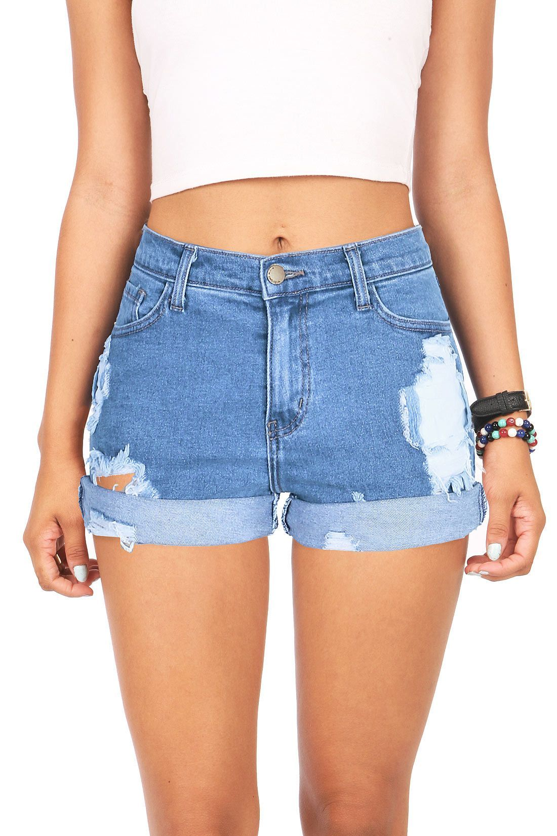 464ba28ccc1 High waist denim shorts with distressing down the front with a rolled up  hem. Classic denim wash and traditional 5-pocket construction with button  and zip ...