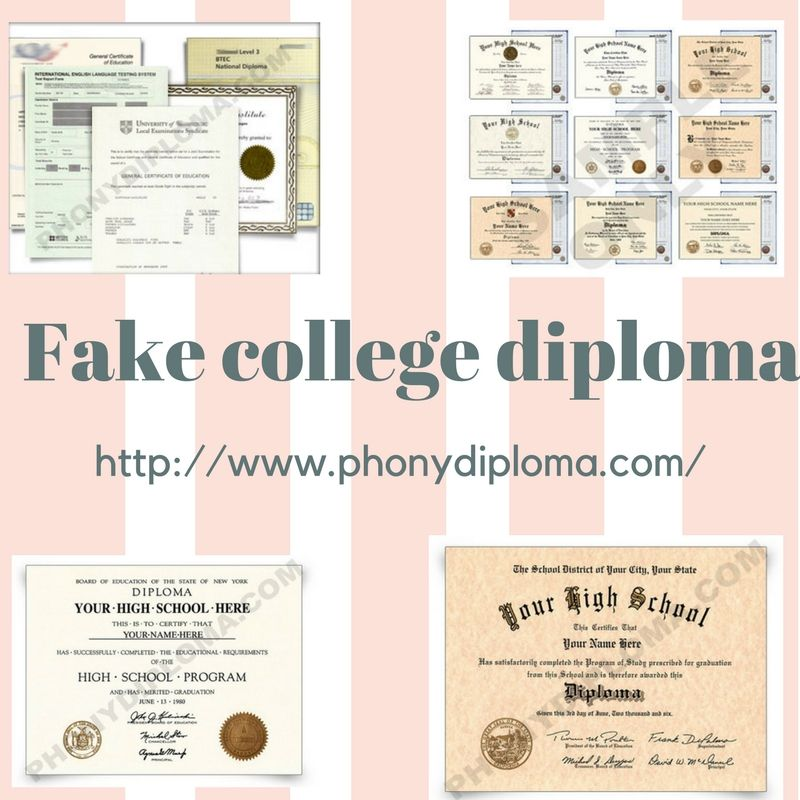Fake college Diplomas designs based on original school layouts