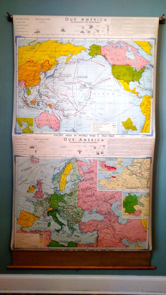 This Is A Double Map Of Pacific Area In World War II 1941 1945 And European  Area In World War II 1939 1945.