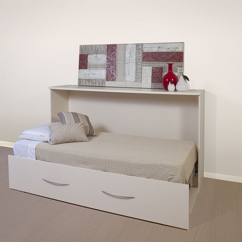 Horizontal Single Fold Down Wall Bed. This Compact Bed Folds Back Neatly  Into A Sylish