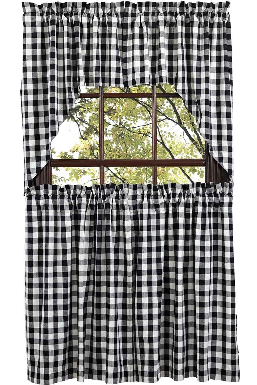 Rustic kitchen window decor  amazon buffalo black check swag set of xx