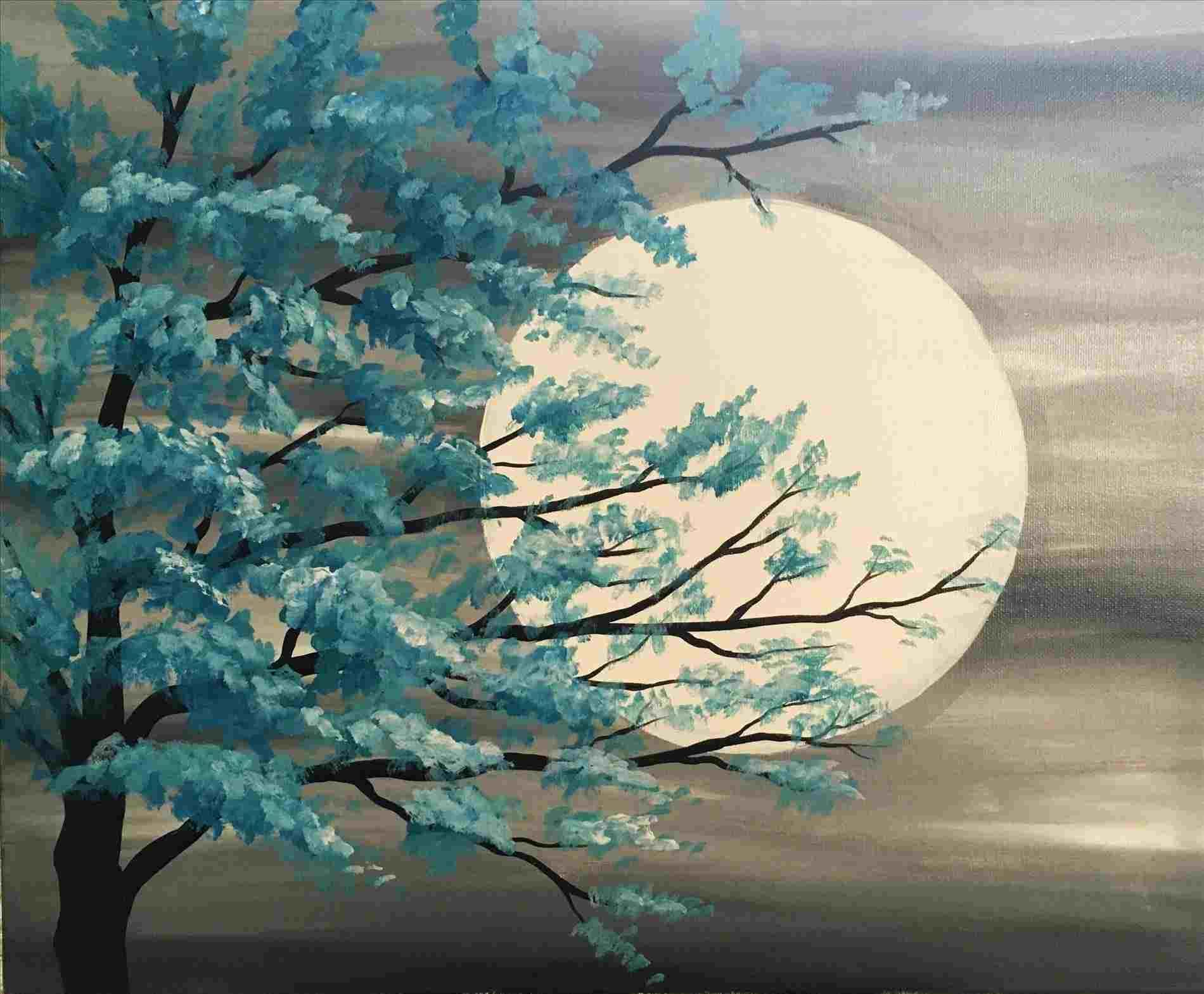 Diy Paint And Sip Ideas Diy Idea Moonlight Painting Painting Projects Simple Acrylic Paintings