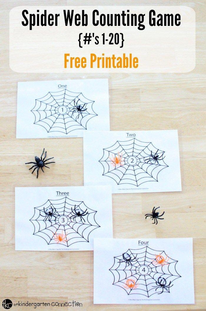 Spider Web Counting Game | Math | Kindergarten math ...