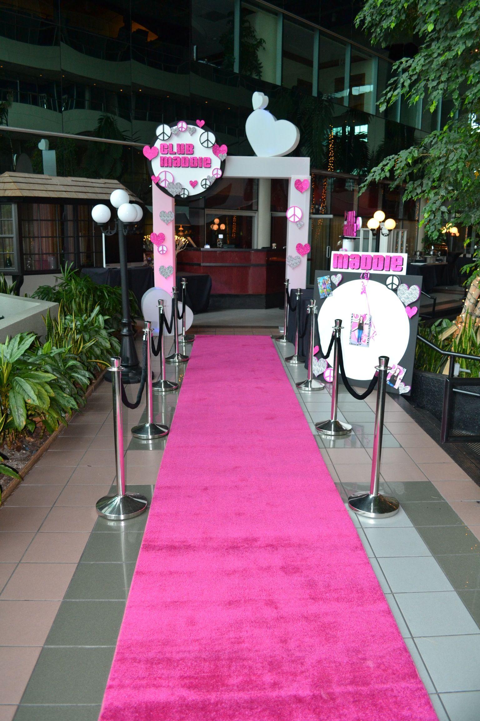 Bat mitzvah event decor pink carpet entrance party perfect