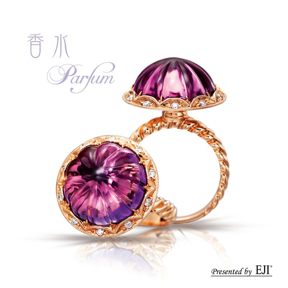 """""""Parfum"""" Parfum ring with 750 rose gold, diamonds and special cut amethyst #Jewellery #amethyst #ring #diamonds"""