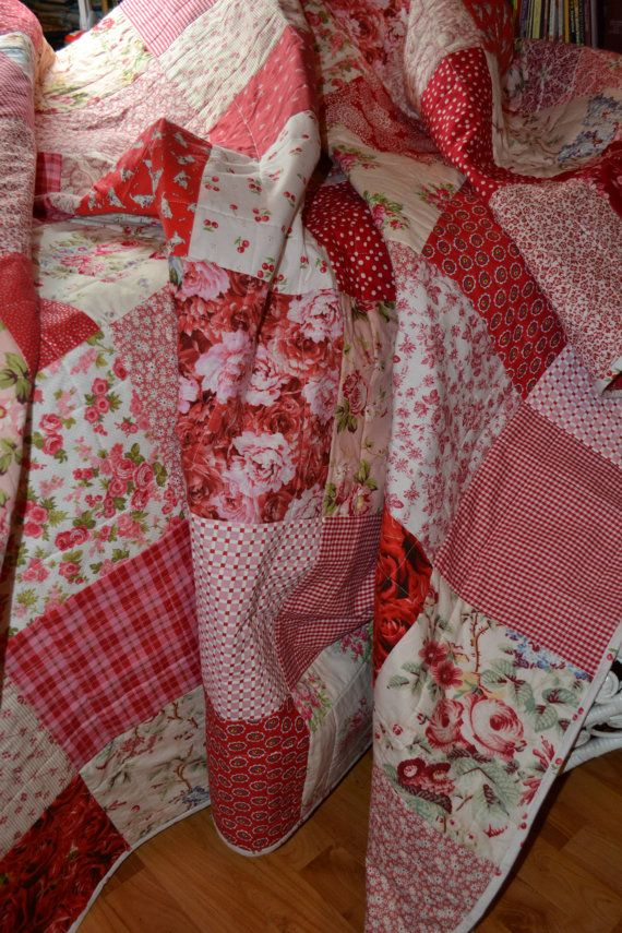 Shabby Chic Roses Vintage Look Double Classic Red | QUILTING ... : red gingham quilt - Adamdwight.com