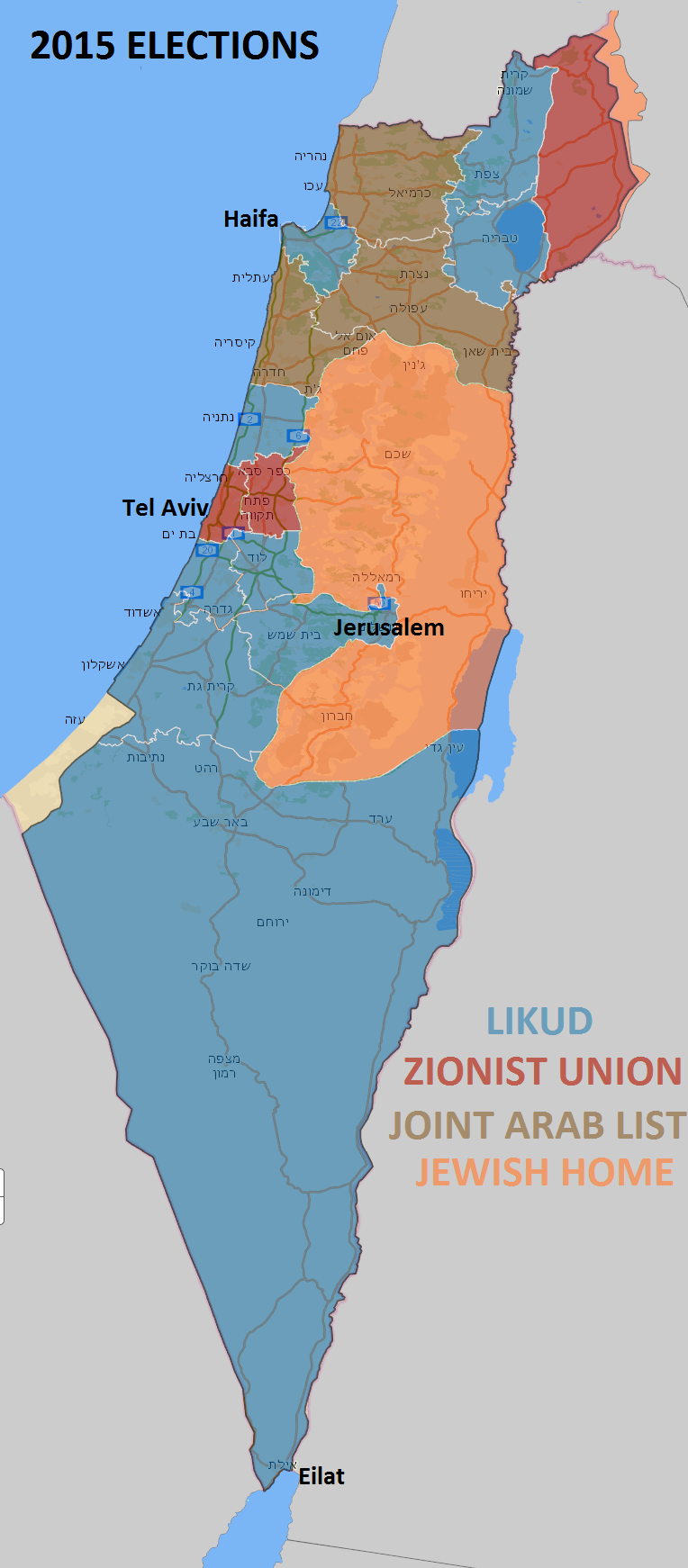 2015 Israeli Elctions Results - Most voted party by district ...