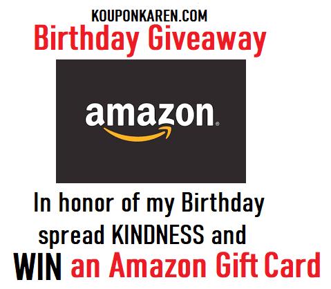 Birthday Giveaway Amazon Gift Card Koupon Karen Birthday Giveaways Amazon Gifts Amazon Gift Cards