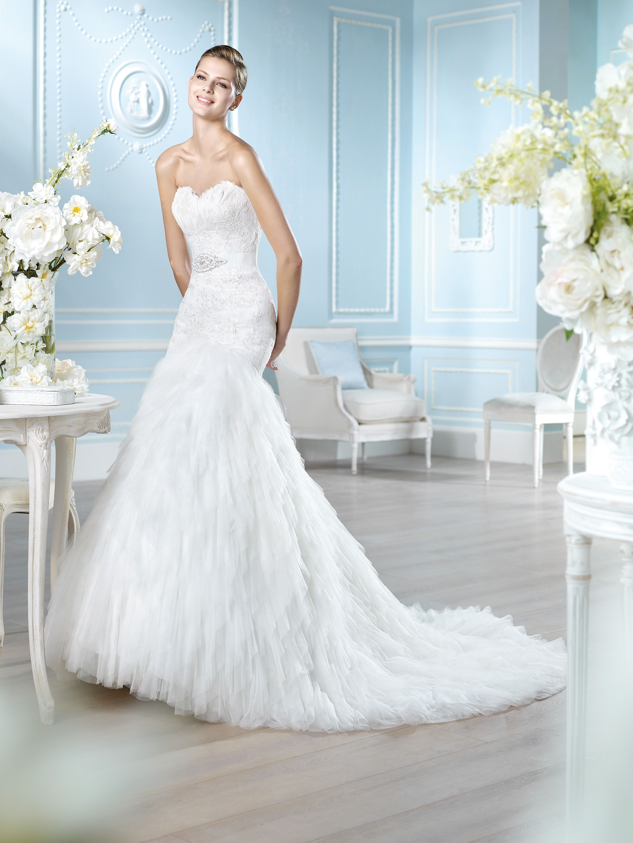 """Hangg"" stunning fishtail wedding dress with feathers at"