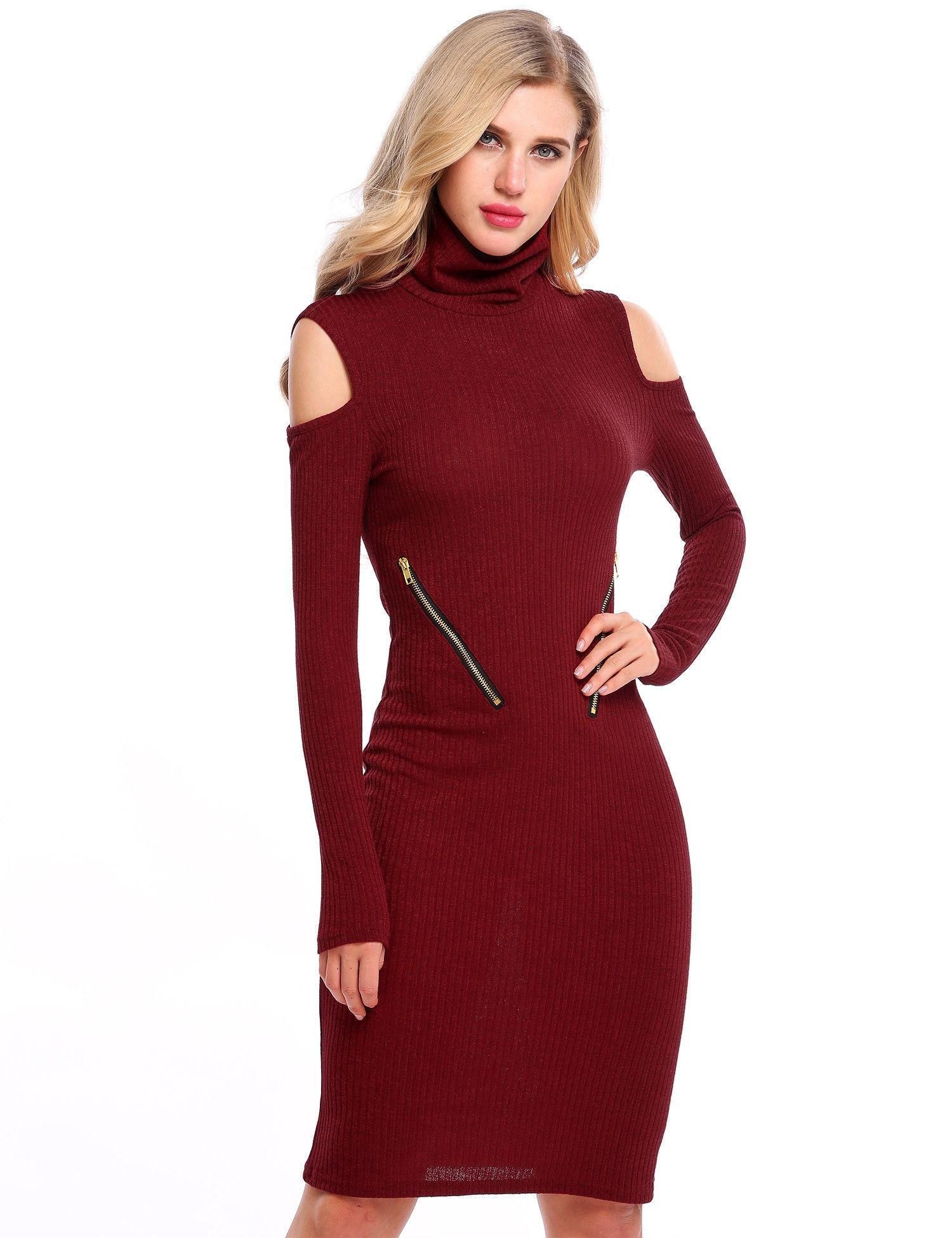 c01a31b714 White Turtleneck Cold Shoulder Zip Bodycon Sweater Dress
