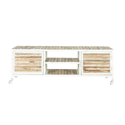 Mistral - Meuble TV en métal et bois blanc L 140 cm Meuble TV