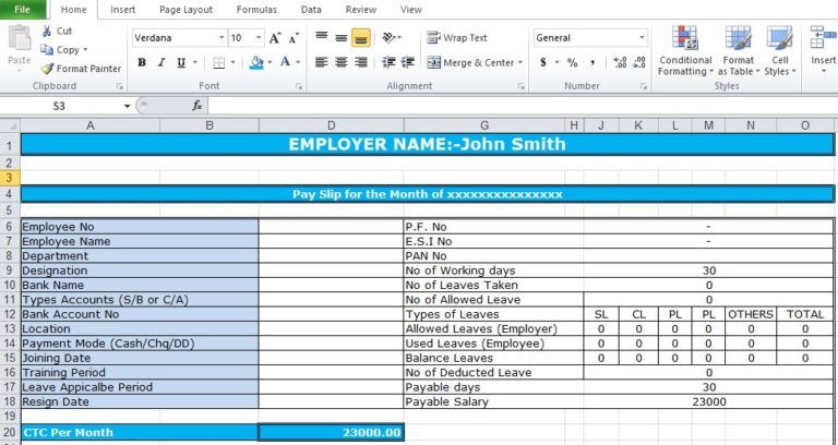 Salary Slip Format In Excel Free Download Payroll Template