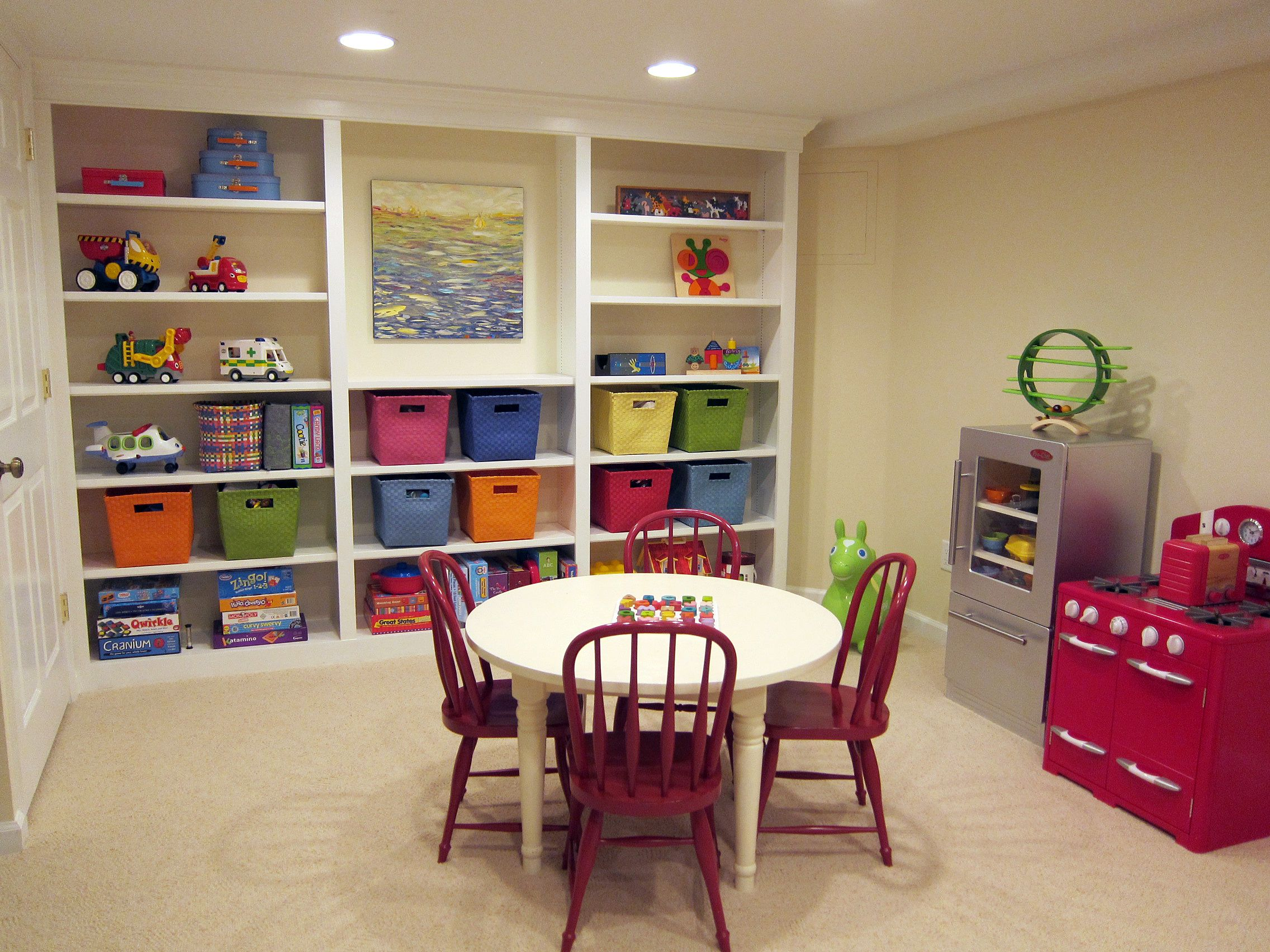 Basement Ideas For Kids our new basement - playroom area 1 (bookshelf, play kitchen, toys