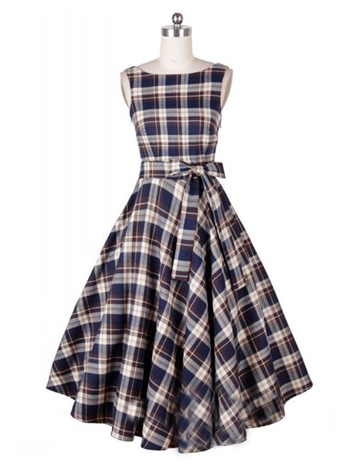 Vintage Blue Plaid Tie-bow Belt Sleeveless Flare Dress