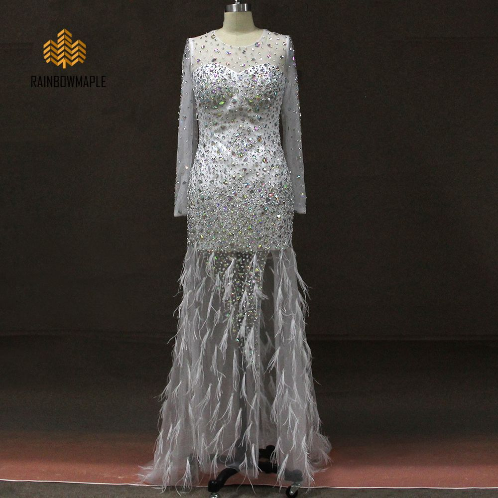 Click to buy ucuc gorgeous long evening dresses crystals beading party