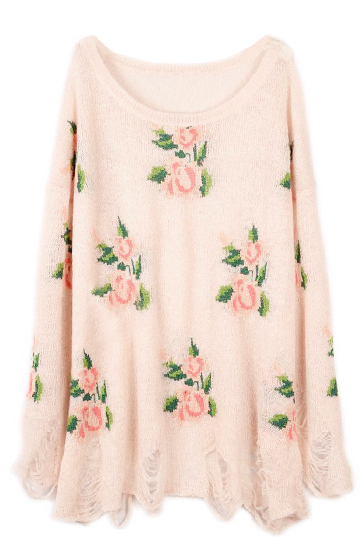 """Floral Printed Pink Distressed """"Threadbare"""" Sweater from lavagrantbelle shop"""