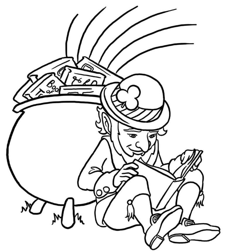 leprechaun with pot of gold coloring sheet printable in
