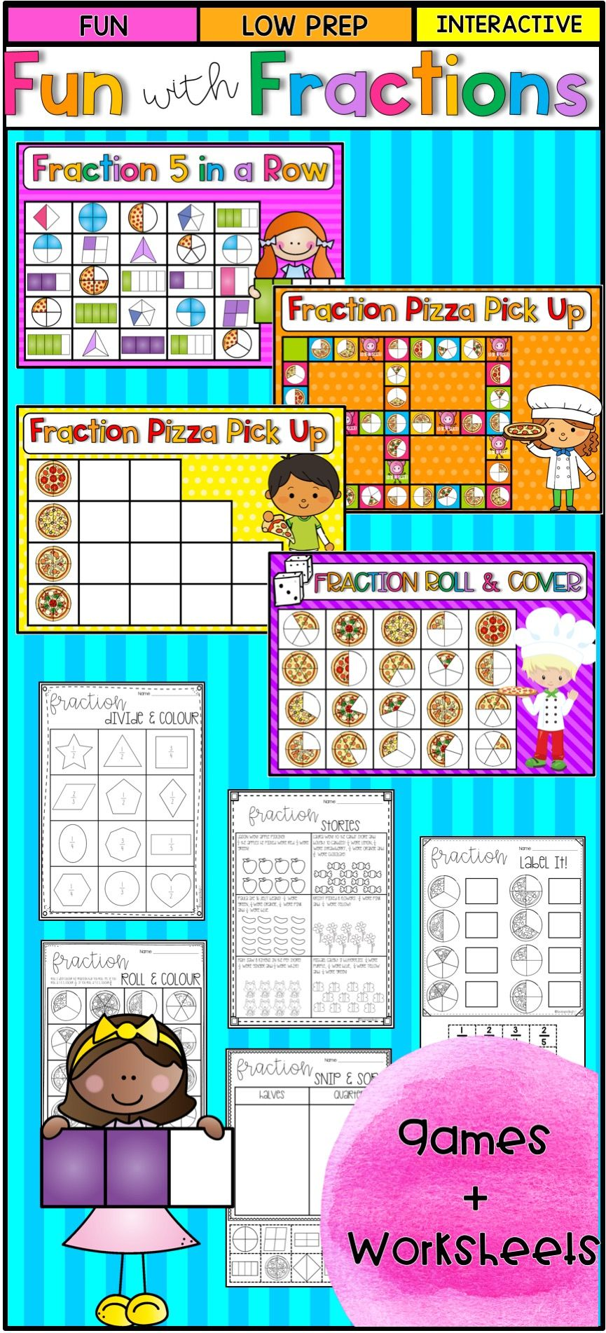 Fraction Games and Worksheets | Worksheets, Numeracy and Literacy