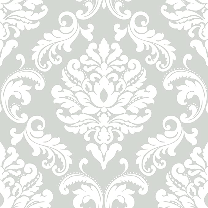 Nuwallpaper Nu1935 Ariel Grey Peel And Stick Wallpaper Amazon Com In 2020 Peel And Stick Wallpaper Damask Wallpaper Nuwallpaper