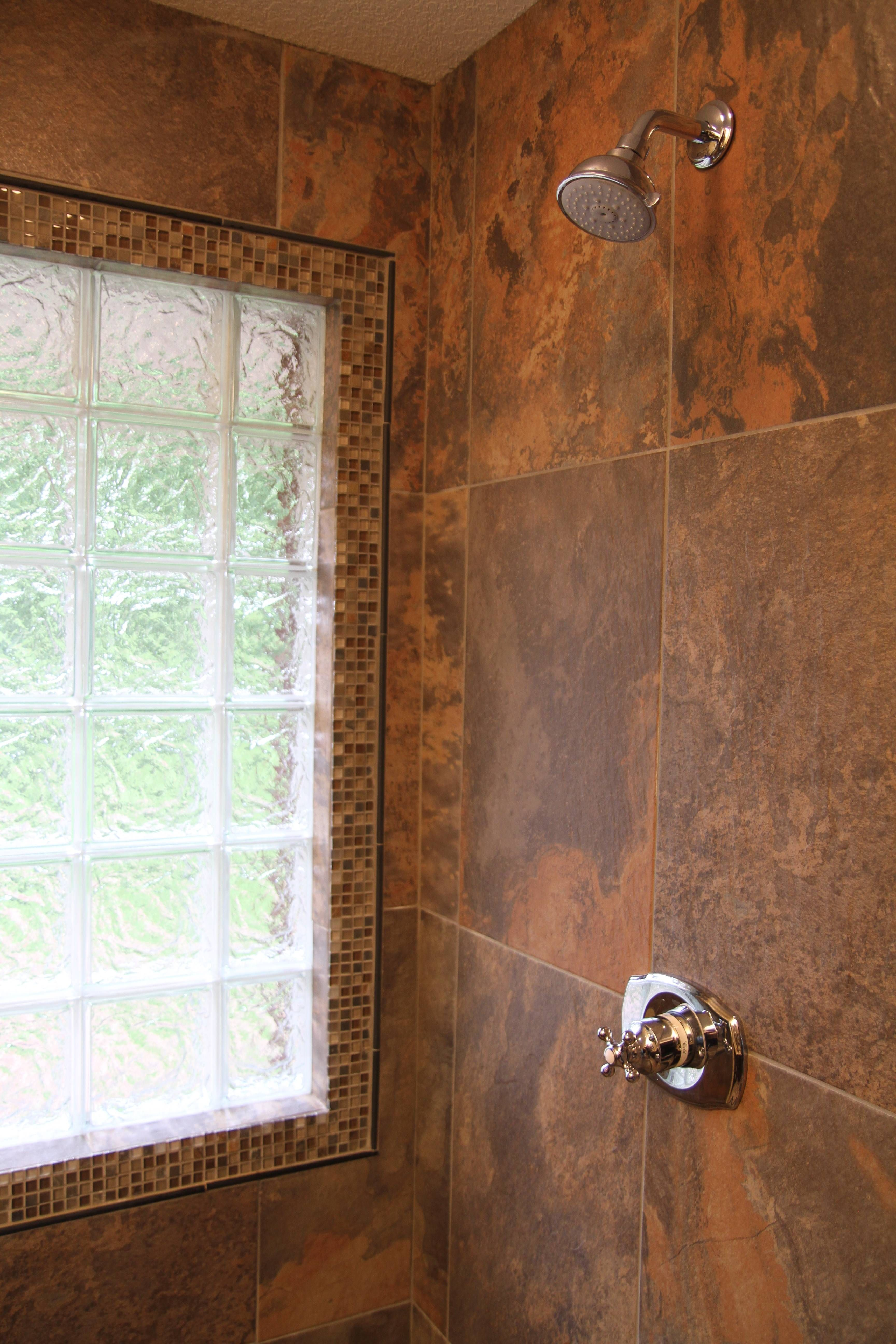Porcelain Tile With Slate Look Glass Block Window In