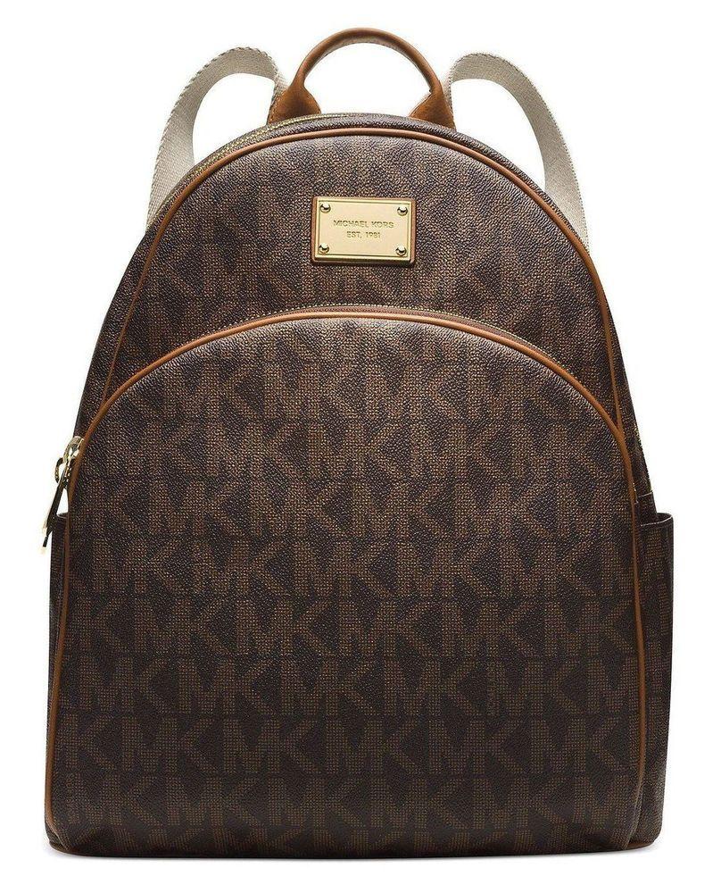 5c4335bd5eda NWT Authentic Michael Kors Jet Set MK Signature Logo Large Backpack Bag  ~Brown  MichaelKors  BackpackStyle