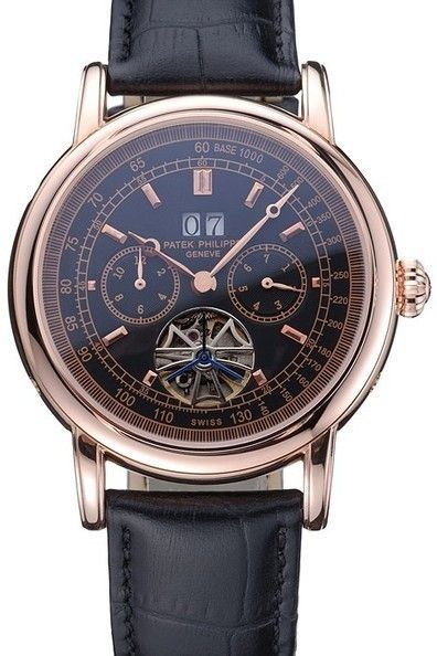 b94633c4df7 Replica Patek Philippe Geneve Grand Complications Tourbillon Black Dial  Rose Gold Plated Case And Bezel Watch With Black Leather Strap