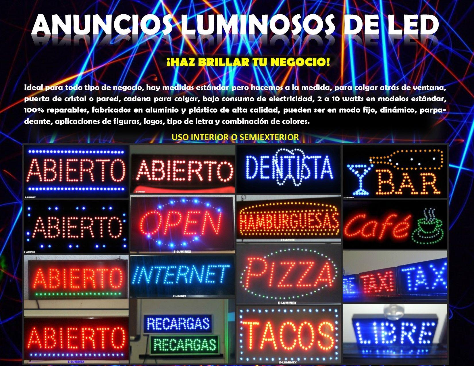 Anuncios luminosos de led para todo tipo de negocio dise os especiales logos logo marcas Disenos de todo tipo
