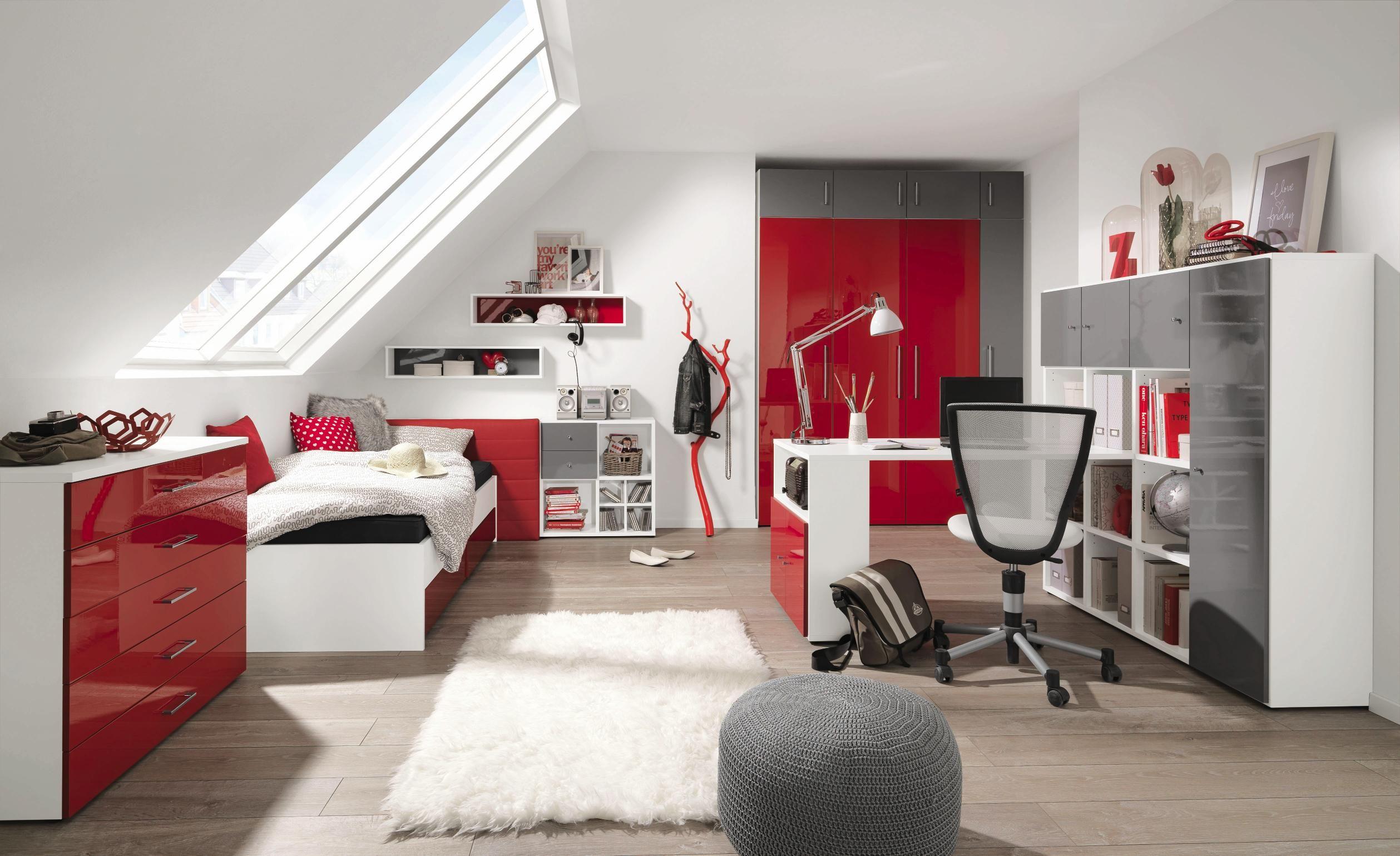 Bett In Weiss Und Rot Von Welnova Modernes Design Fur Jugendzimmer Jugendzimmer Loft Betten Haus Deko