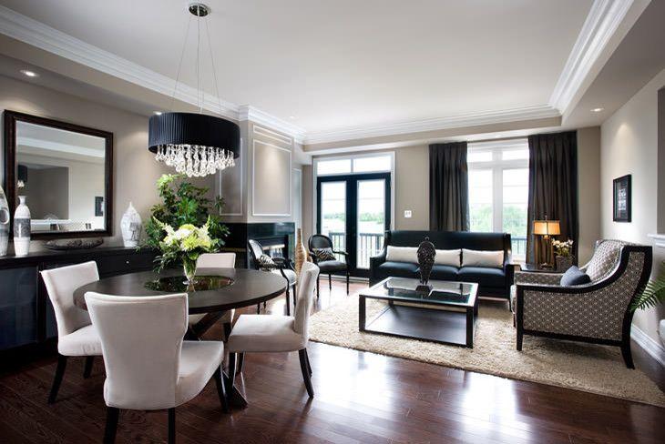 surprising white living rooms dark wood floors | livign room in condo with dark wood floor, white chairs ...