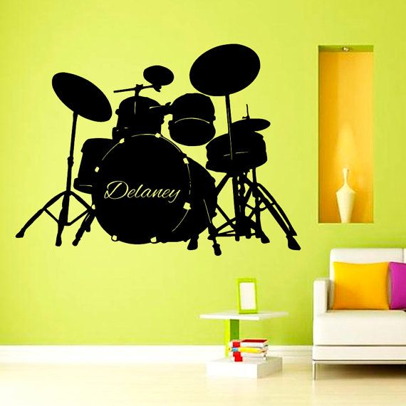 Custom Wall Decals Music Drums Vinyl Decal Sticker Boy Personalized ...