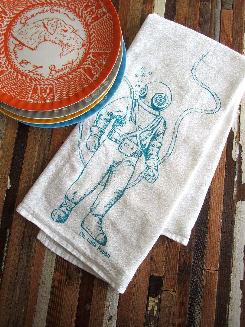 Screen Printed Organic Cotton Deep Sea Diver Flour Sack Tea Towel ...