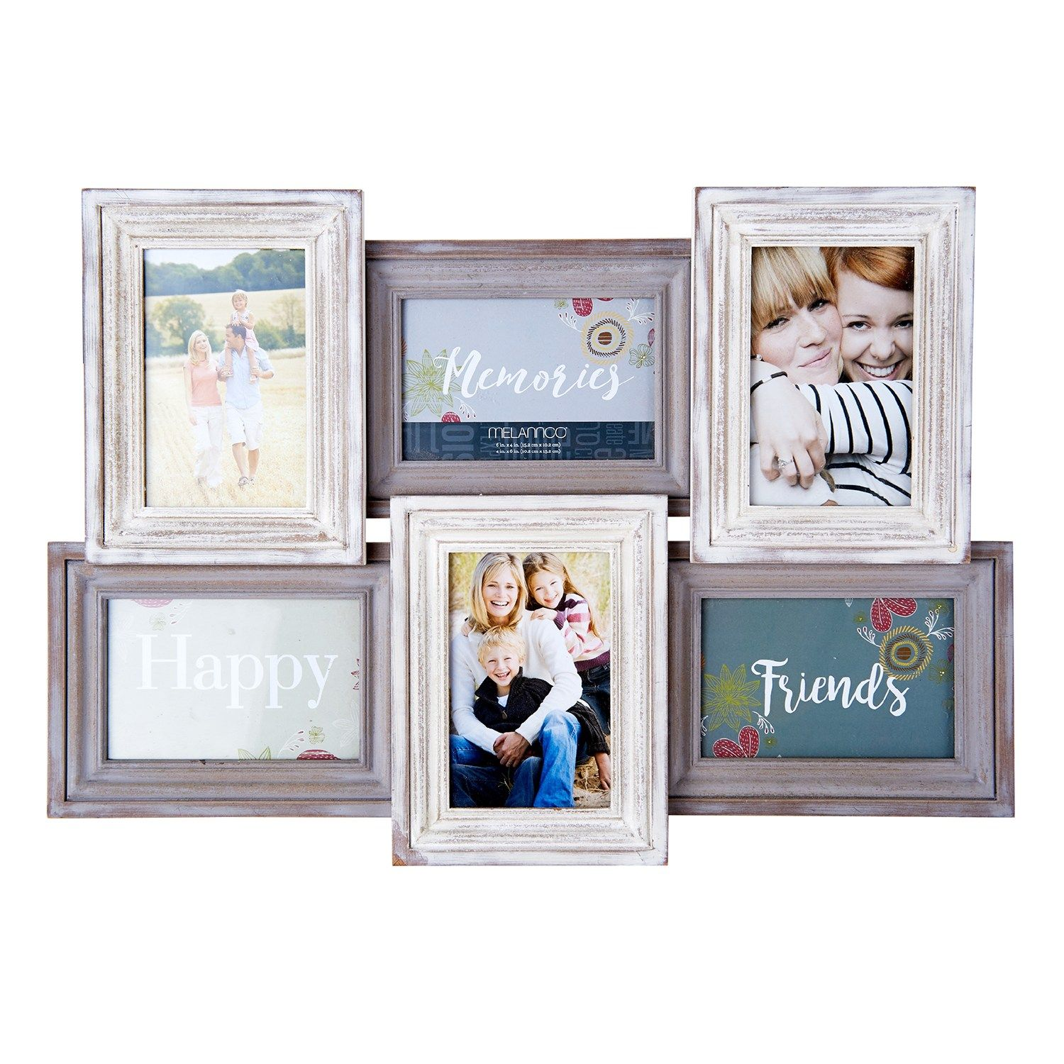 Melannco Distressed 6 Opening 4 X 6 Collage Frame Distressed